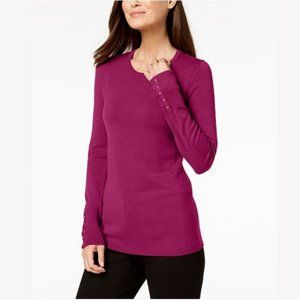 NWT JM Collection Studded-Cuff Sweater XLP #3595